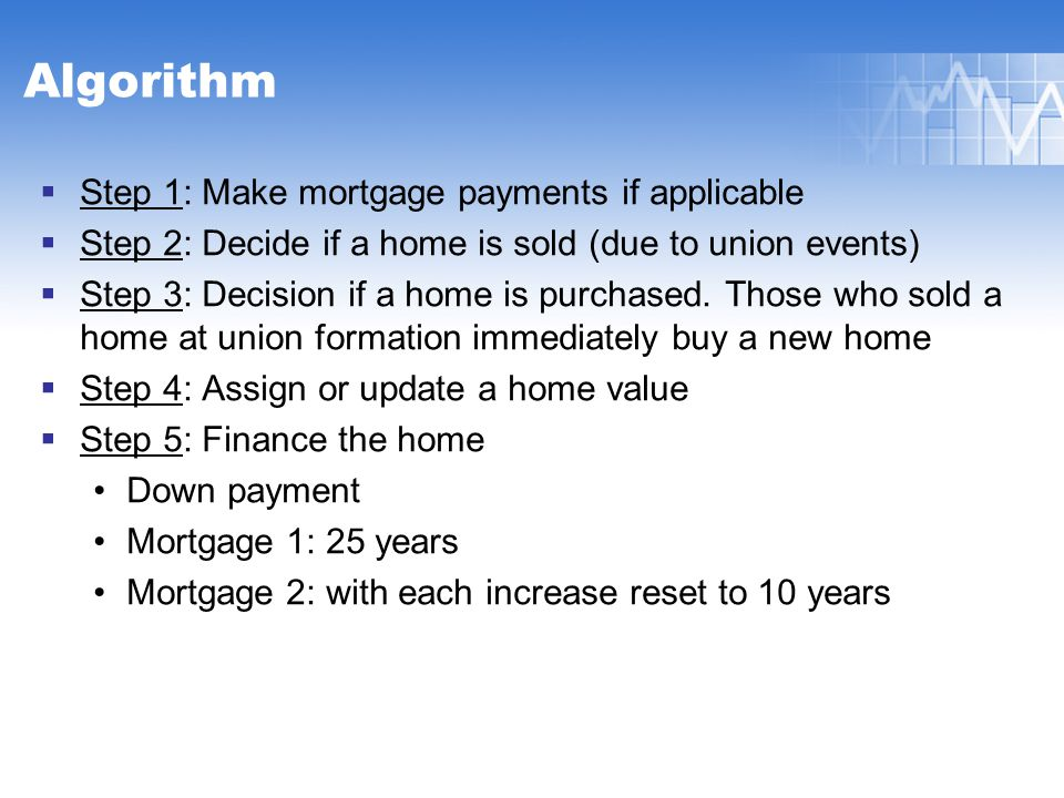 Algorithm  Step 1: Make mortgage payments if applicable  Step 2: Decide if a home is sold (due to union events)  Step 3: Decision if a home is purchased.