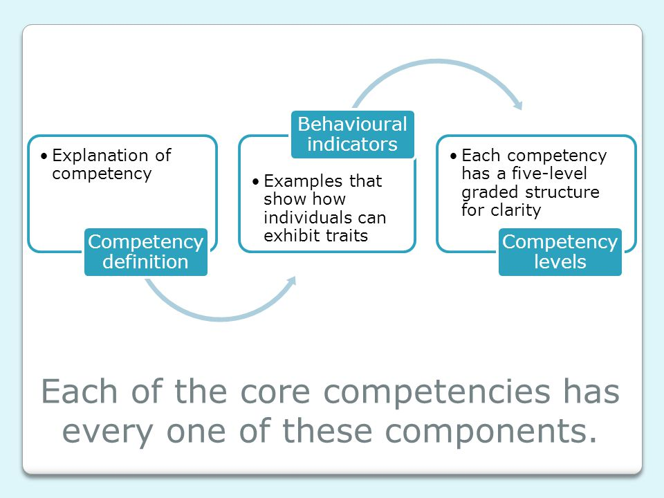 Each of the core competencies has every one of these components.