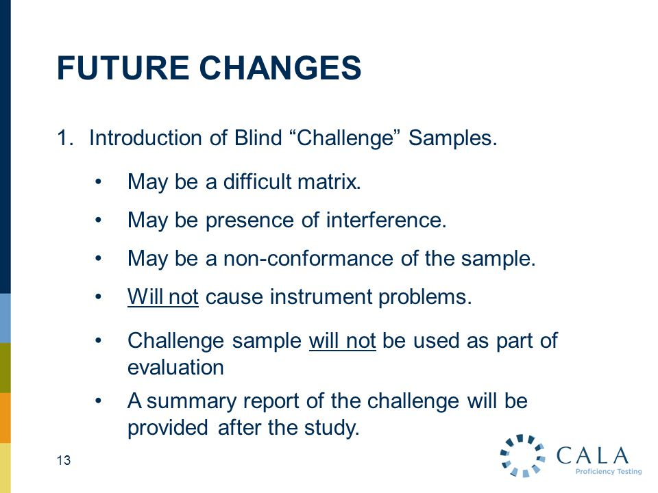 "FUTURE CHANGES 13 1.Introduction of Blind ""Challenge"" Samples. May be a difficult matrix. May be presence of interference. May be a non-conformance of"