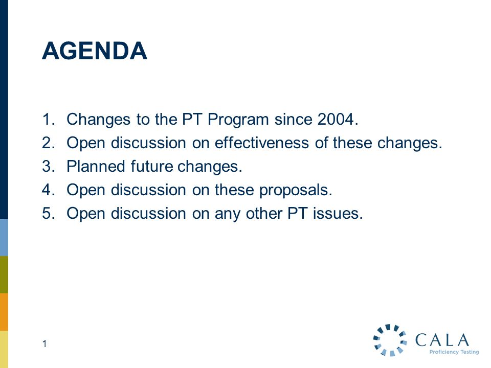 AGENDA 1.Changes to the PT Program since 2004. 2.Open discussion on effectiveness of these changes. 3.Planned future changes. 4.Open discussion on the