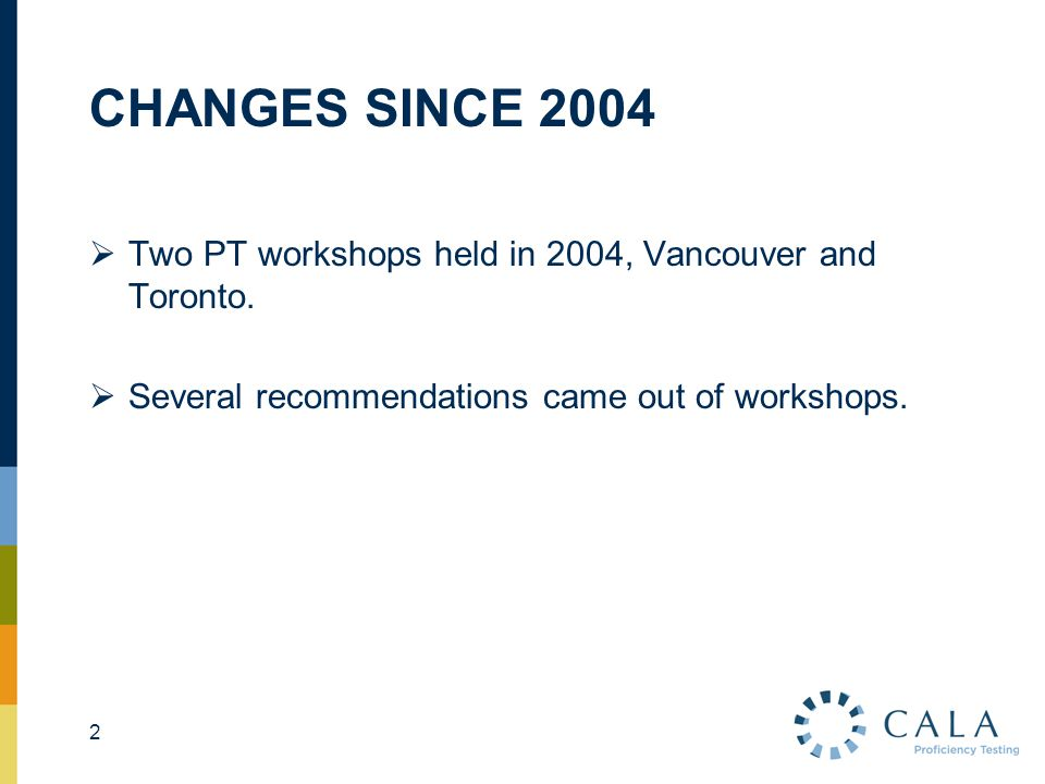 CHANGES SINCE 2004  Two PT workshops held in 2004, Vancouver and Toronto.  Several recommendations came out of workshops. 2