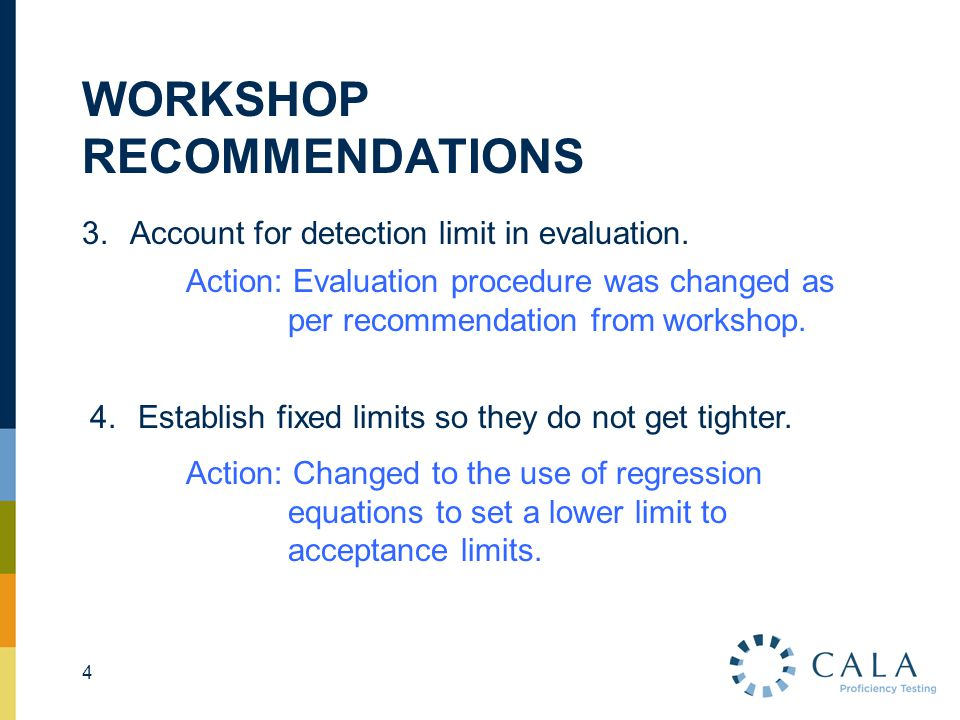 WORKSHOP RECOMMENDATIONS 3.Account for detection limit in evaluation. 4 Action: Evaluation procedure was changed as per recommendation from workshop.