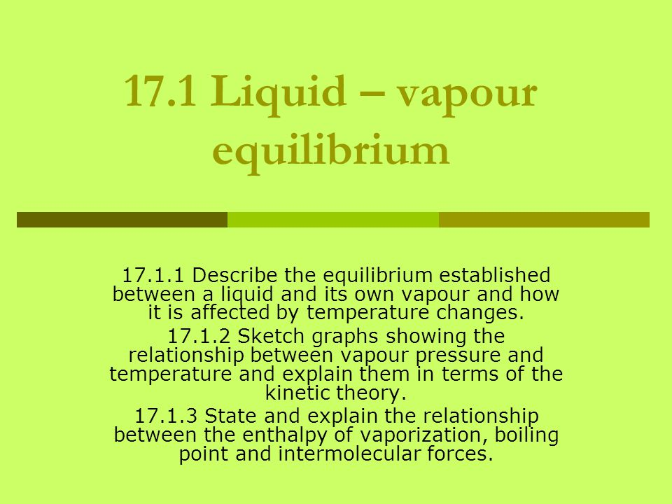 17.1 Liquid – vapour equilibrium 17.1.1 Describe the equilibrium established between a liquid and its own vapour and how it is affected by temperature