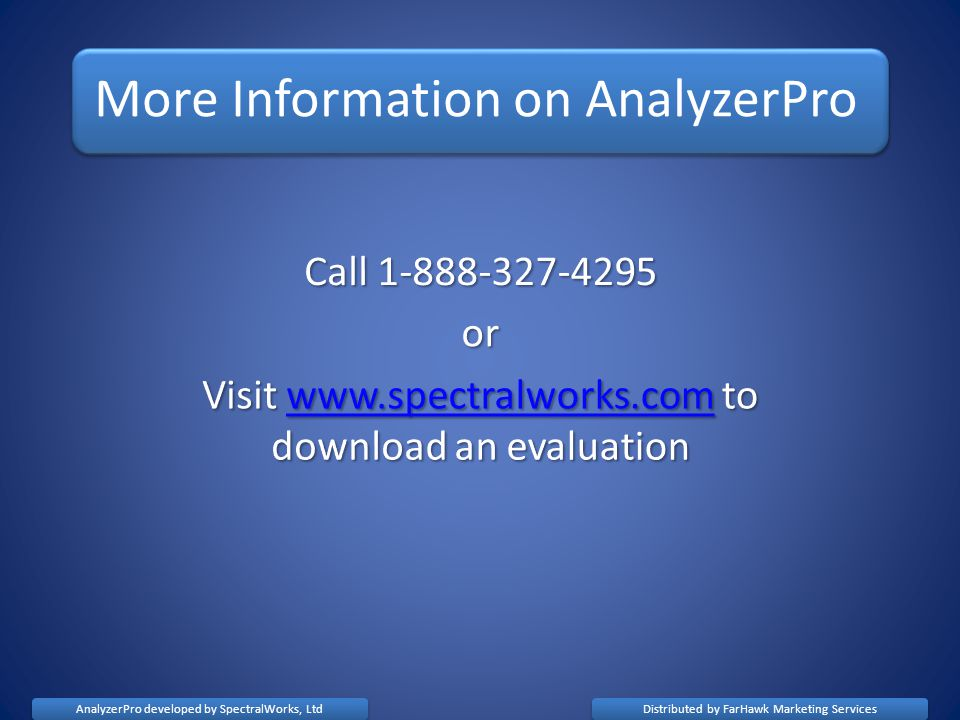 More Information on AnalyzerPro