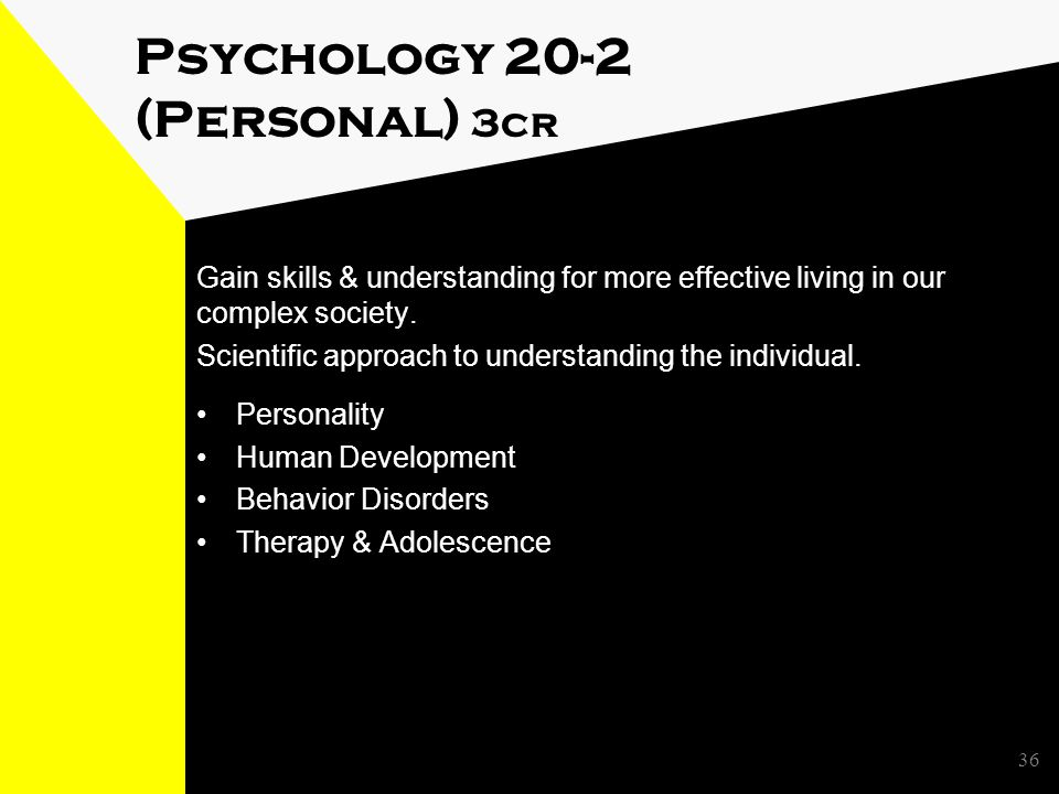 Psychology 20-2 (Personal) 3cr Gain skills & understanding for more effective living in our complex society.