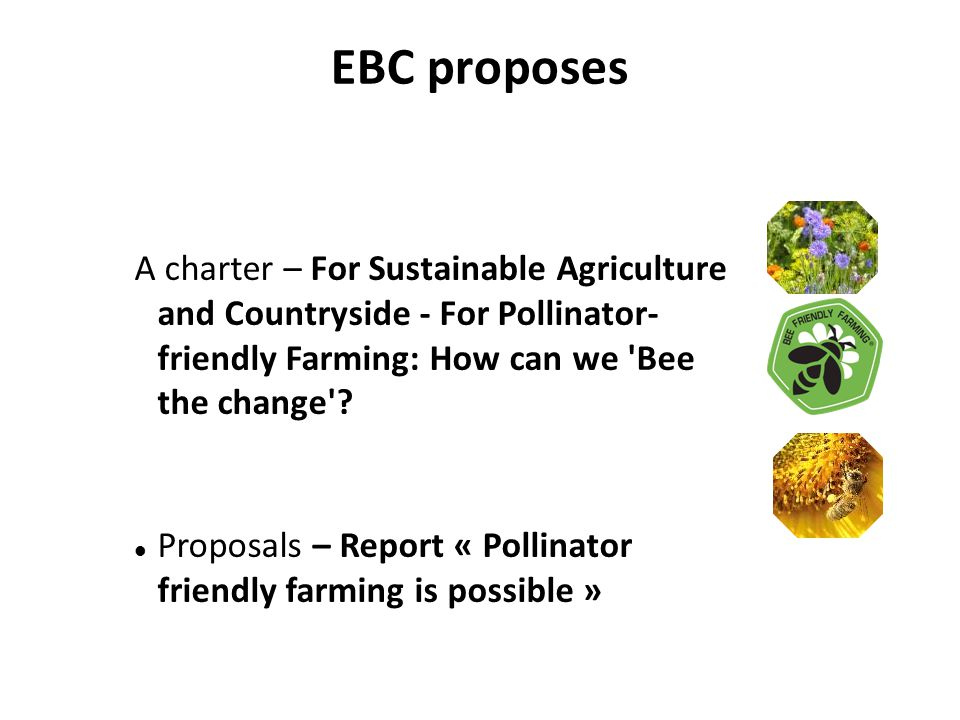 EBC proposes A charter – For Sustainable Agriculture and Countryside - For Pollinator- friendly Farming: How can we Bee the change .