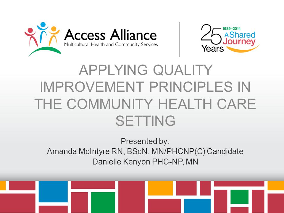 APPLYING QUALITY IMPROVEMENT PRINCIPLES IN THE COMMUNITY HEALTH CARE SETTING Presented by: Amanda McIntyre RN, BScN, MN/PHCNP(C) Candidate Danielle Kenyon PHC-NP, MN