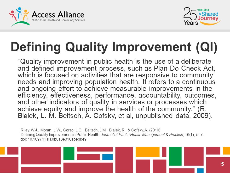 55 Defining Quality Improvement (QI) Quality improvement in public health is the use of a deliberate and defined improvement process, such as Plan-Do-Check-Act, which is focused on activities that are responsive to community needs and improving population health.