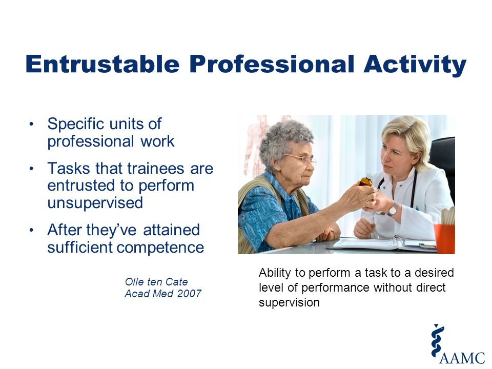 Specific units of professional work Tasks that trainees are entrusted to perform unsupervised After they've attained sufficient competence Olle ten Cate Acad Med 2007 Entrustable Professional Activity Ability to perform a task to a desired level of performance without direct supervision