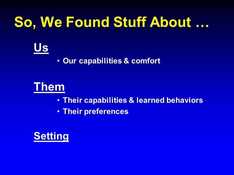 So, We Found Stuff About … Us Our capabilities & comfort Them Their capabilities & learned behaviors Their preferences Setting