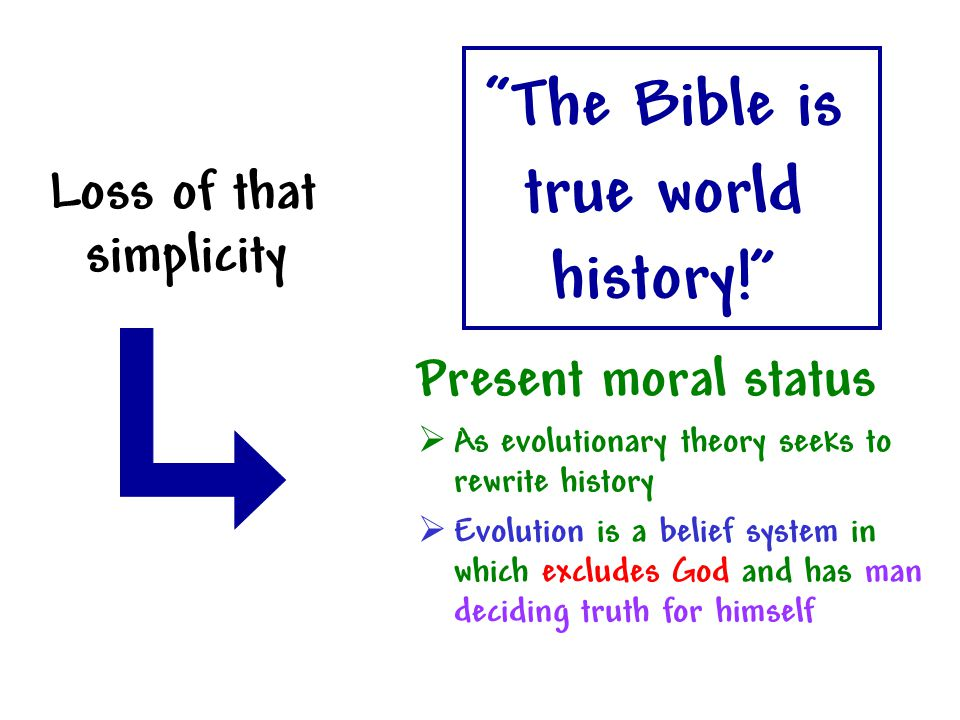 """""""The Bible is true world history!"""" Loss of that simplicity Present moral status  As evolutionary theory seeks to rewrite history  Evolution is a bel"""