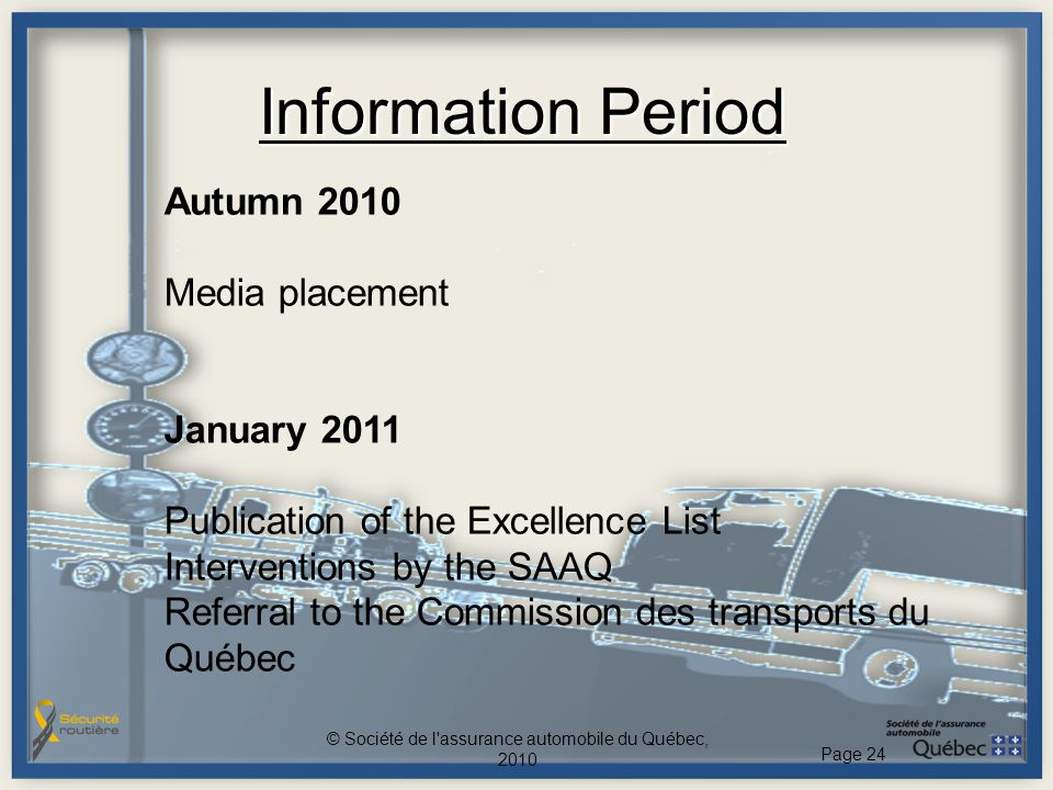 Information Period Autumn 2010 Media placement January 2011 Publication of the Excellence List Interventions by the SAAQ Referral to the Commission de