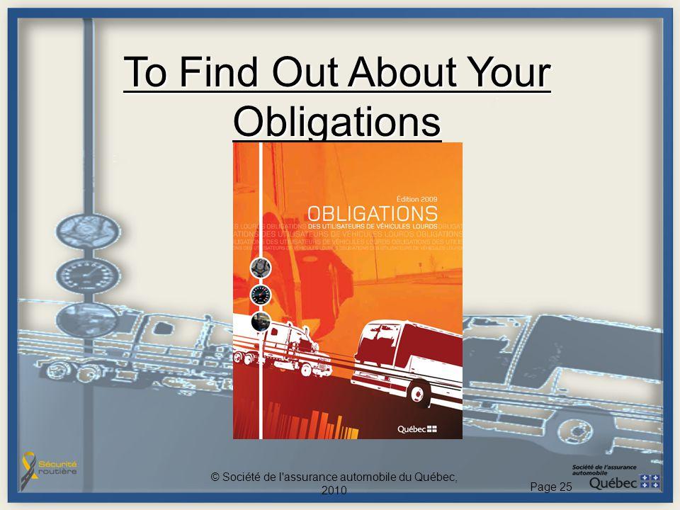 To Find Out About Your Obligations © Société de l'assurance automobile du Québec, 2010 Page 25