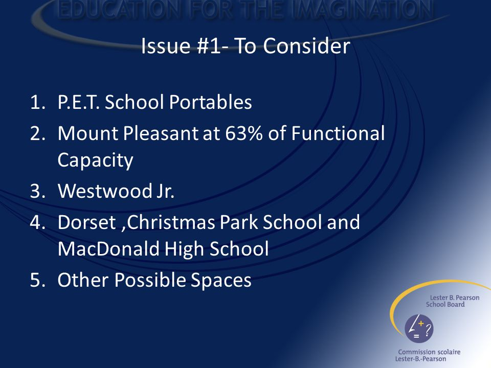Issue #1- To Consider 1.P.E.T.