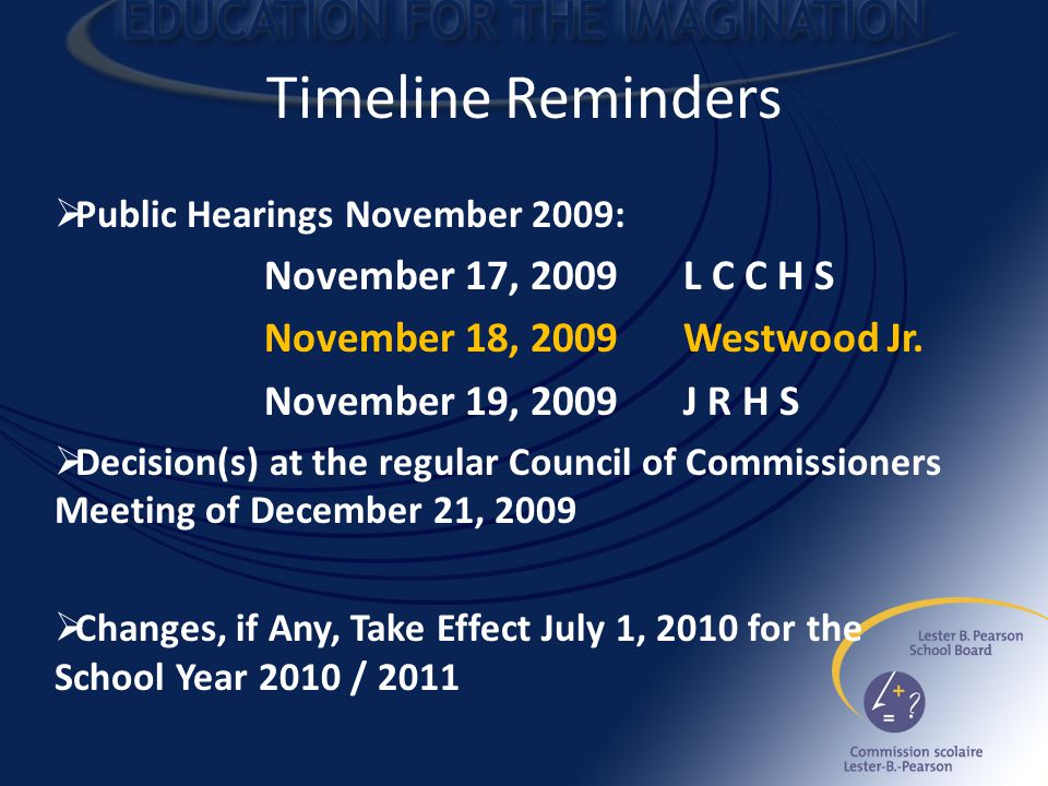 Timeline Reminders  Public Hearings November 2009: November 17, 2009L C C H S November 18, 2009Westwood Jr.