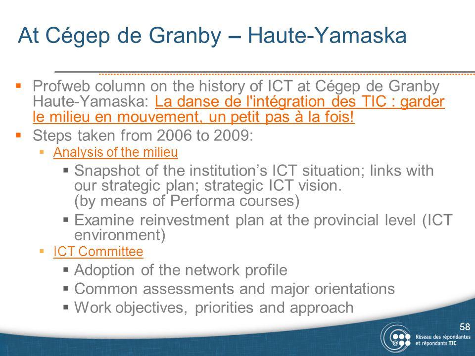 At Cégep de Granby – Haute-Yamaska  Profweb column on the history of ICT at Cégep de Granby Haute-Yamaska: La danse de l intégration des TIC : garder le milieu en mouvement, un petit pas à la fois!La danse de l intégration des TIC : garder le milieu en mouvement, un petit pas à la fois.