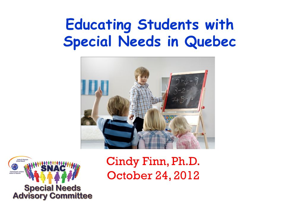 Classification of Special Needs in Quebec (MELS) ** Identification procedures and government funding differ for both categories Special Needs Students in Difficulty (Learning or Behavior) Students with Social Maladjustments or Handicaps
