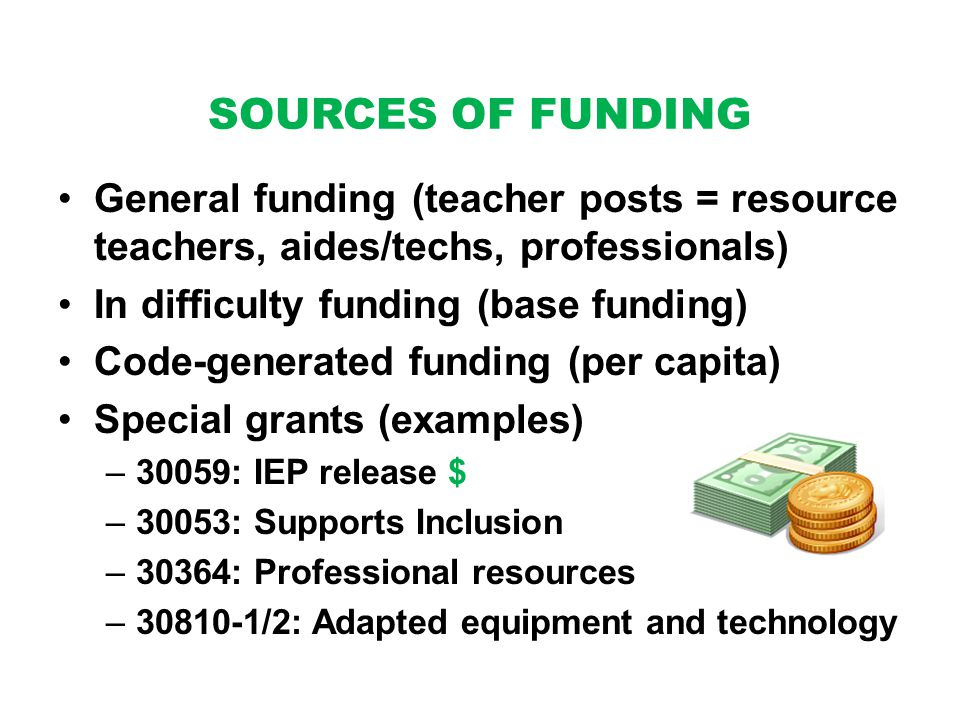SOURCES OF FUNDING General funding (teacher posts = resource teachers, aides/techs, professionals) In difficulty funding (base funding) Code-generated funding (per capita) Special grants (examples) –30059: IEP release $ –30053: Supports Inclusion –30364: Professional resources – /2: Adapted equipment and technology