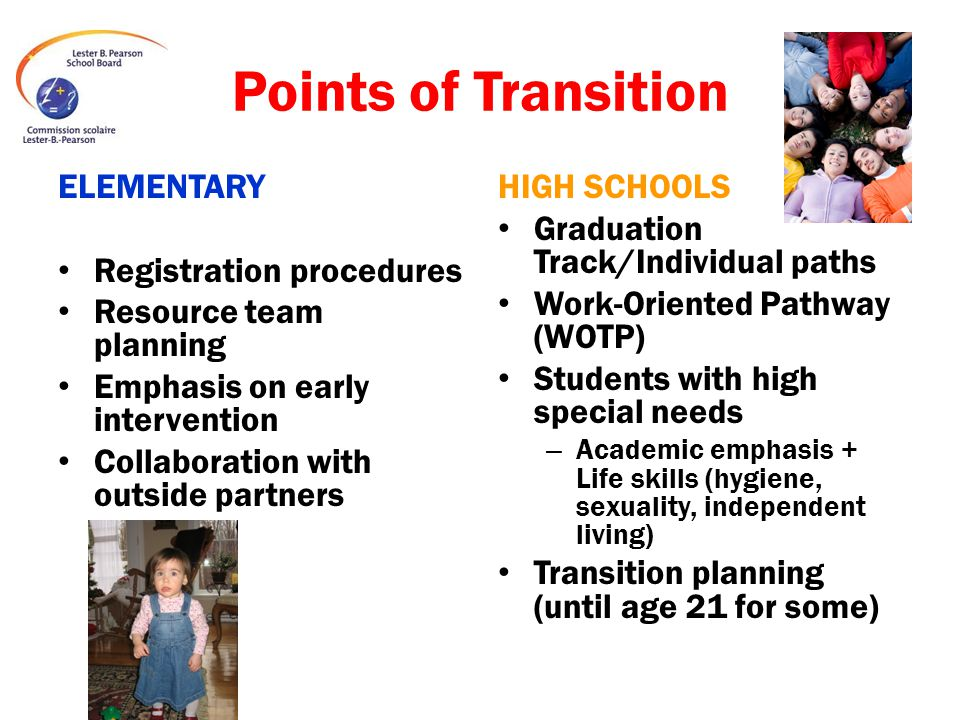 Points of Transition ELEMENTARY Registration procedures Resource team planning Emphasis on early intervention Collaboration with outside partners HIGH SCHOOLS Graduation Track/Individual paths Work-Oriented Pathway (WOTP) Students with high special needs – Academic emphasis + Life skills (hygiene, sexuality, independent living) Transition planning (until age 21 for some)