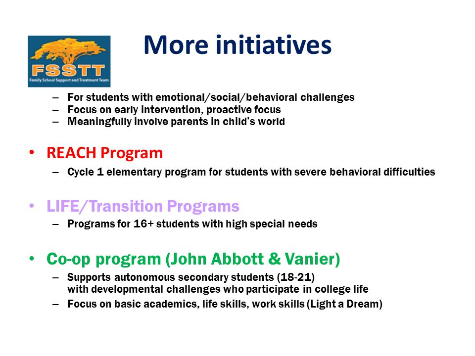 More initiatives – For students with emotional/social/behavioral challenges – Focus on early intervention, proactive focus – Meaningfully involve parents in child's world REACH Program – Cycle 1 elementary program for students with severe behavioral difficulties LIFE/Transition Programs – Programs for 16+ students with high special needs Co-op program (John Abbott & Vanier) – Supports autonomous secondary students (18-21) with developmental challenges who participate in college life – Focus on basic academics, life skills, work skills (Light a Dream)