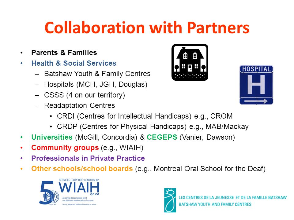 Collaboration with Partners Parents & Families Health & Social Services –Batshaw Youth & Family Centres –Hospitals (MCH, JGH, Douglas) –CSSS (4 on our territory) –Readaptation Centres CRDI (Centres for Intellectual Handicaps) e.g., CROM CRDP (Centres for Physical Handicaps) e.g., MAB/Mackay Universities (McGill, Concordia) & CEGEPS (Vanier, Dawson) Community groups (e.g., WIAIH) Professionals in Private Practice Other schools/school boards (e.g., Montreal Oral School for the Deaf)