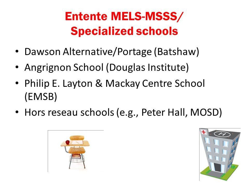Entente MELS-MSSS/ Specialized schools Dawson Alternative/Portage (Batshaw) Angrignon School (Douglas Institute) Philip E.