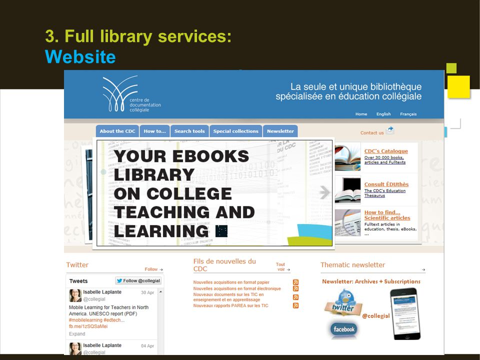 3. Full library services: Website