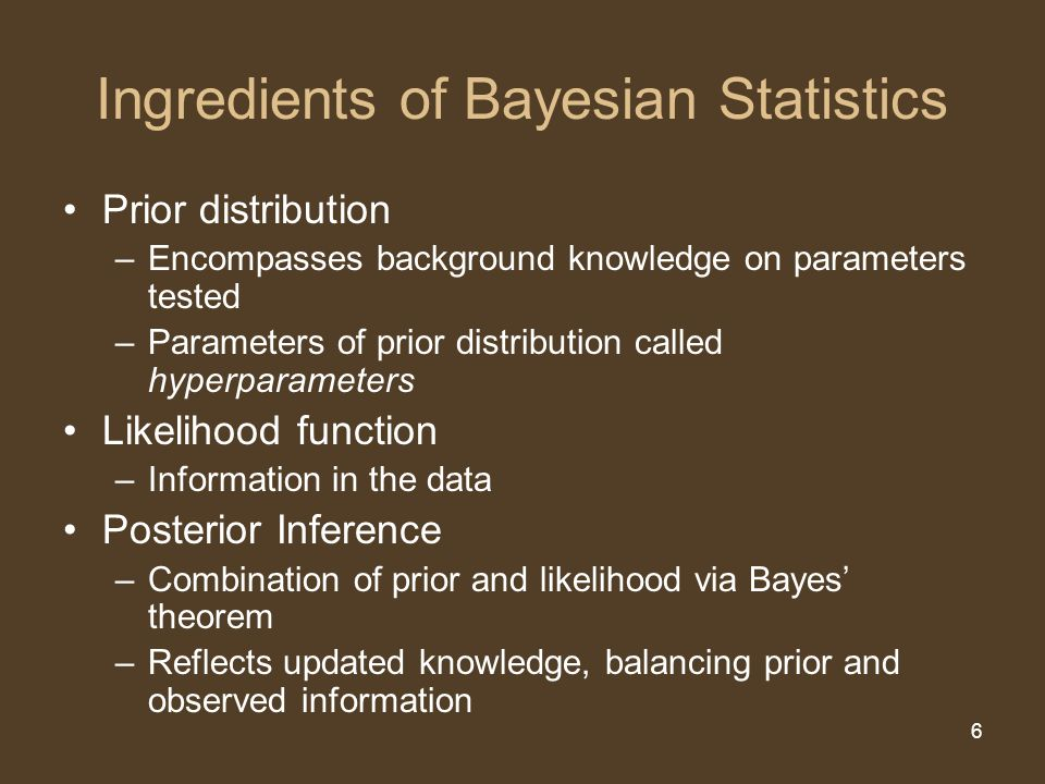 6 Ingredients of Bayesian Statistics Prior distribution –Encompasses background knowledge on parameters tested –Parameters of prior distribution calle