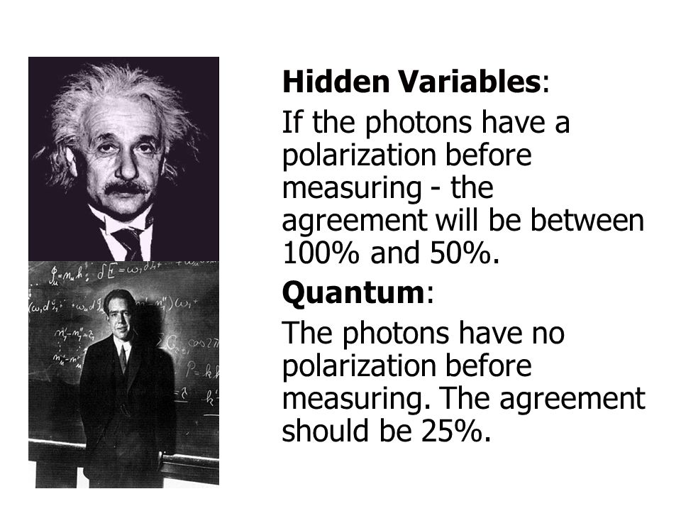 Hidden Variables: If the photons have a polarization before measuring - the agreement will be between 100% and 50%.