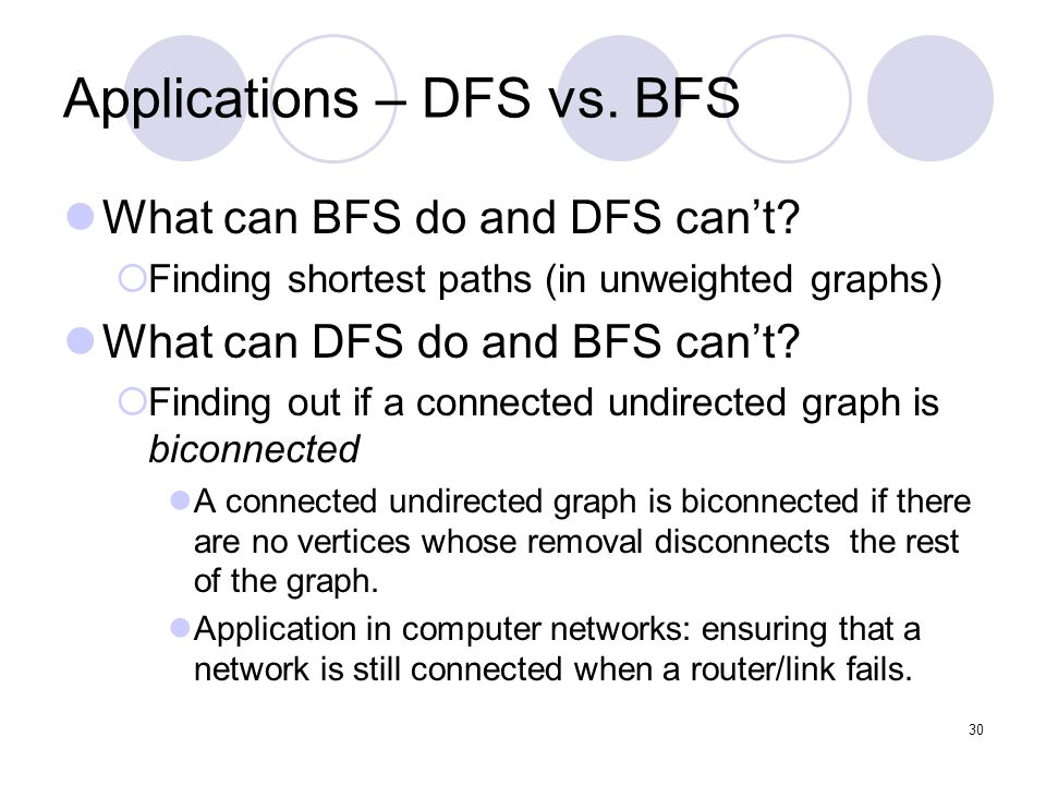 30 Applications – DFS vs. BFS What can BFS do and DFS can't.