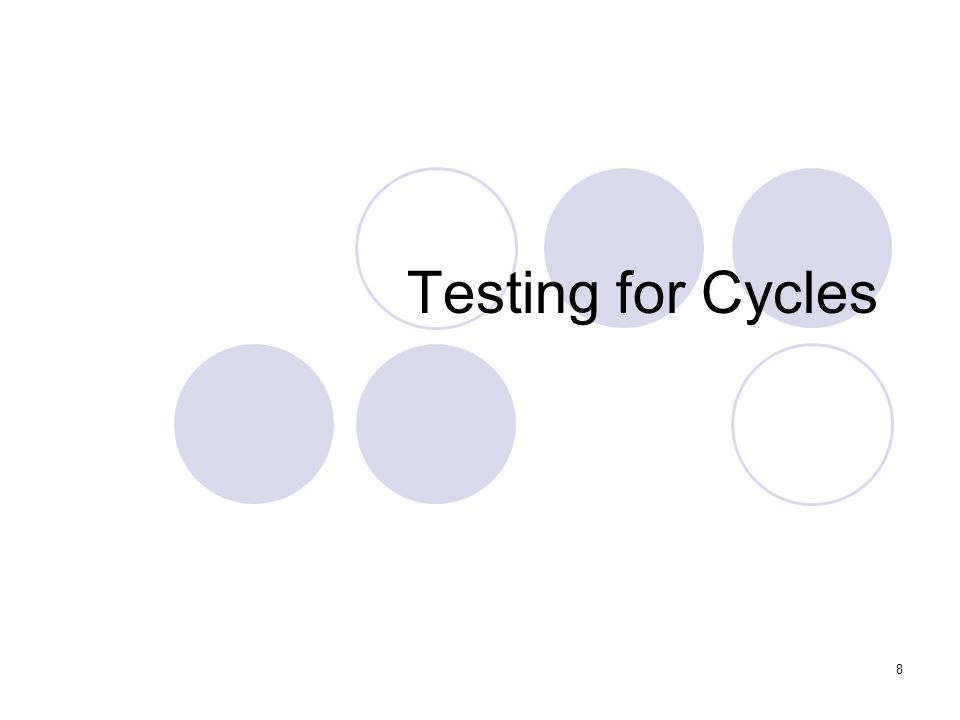 8 Testing for Cycles