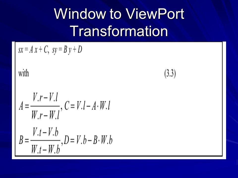 Window to ViewPort Transformation