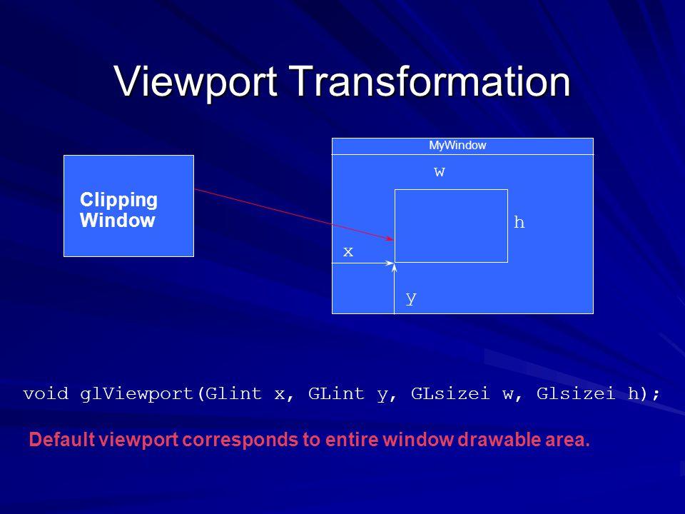 Viewport Transformation MyWindow x y h w void glViewport(Glint x, GLint y, GLsizei w, Glsizei h); Default viewport corresponds to entire window drawab