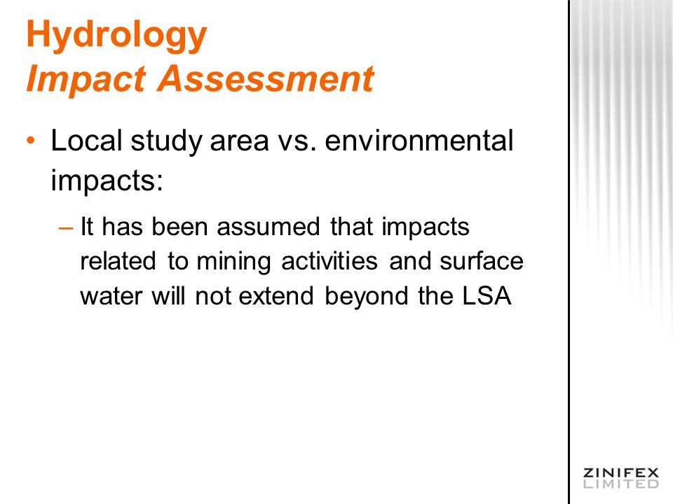 Hydrology Impact Assessment Local study area vs.