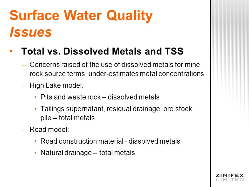 Surface Water Quality Issues Total vs.