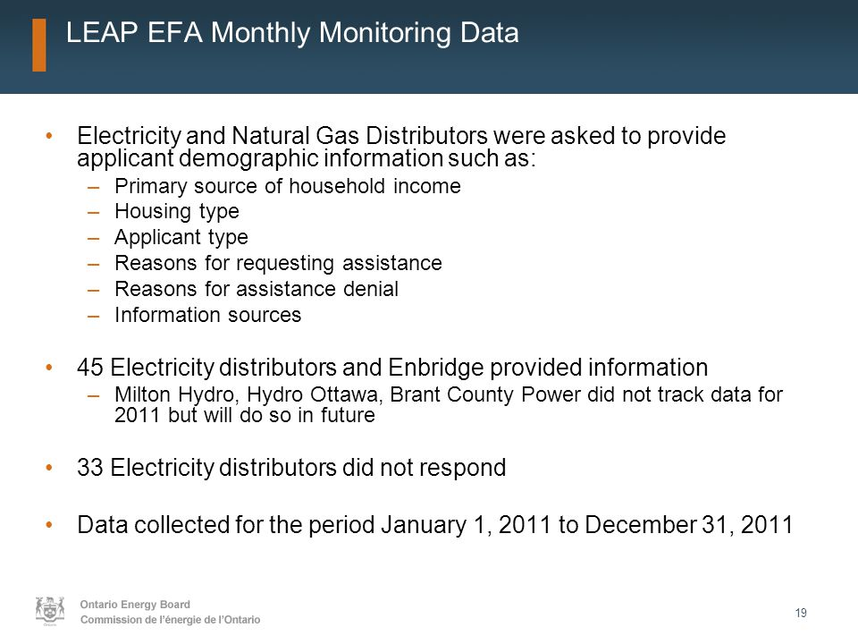 19 LEAP EFA Monthly Monitoring Data Electricity and Natural Gas Distributors were asked to provide applicant demographic information such as: –Primary