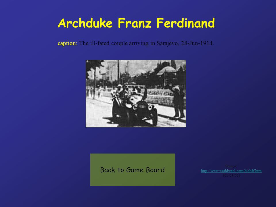 Archduke Franz Ferdinand caption: The ill-fated couple arriving in Sarajevo, 28-Jun-1914.