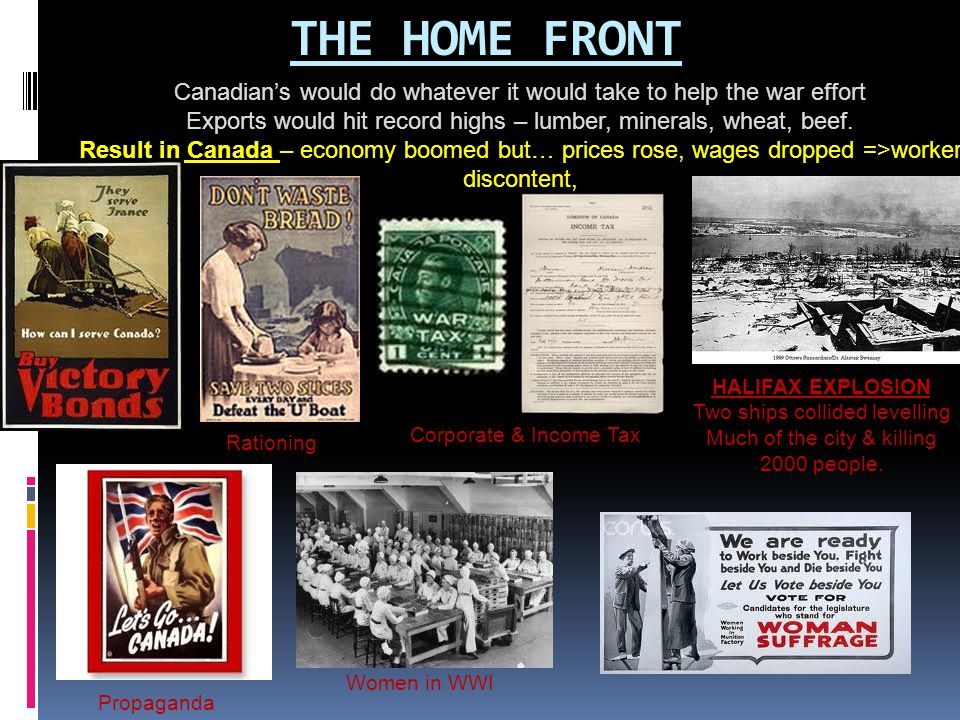 THE HOME FRONT Canadian's would do whatever it would take to help the war effort Exports would hit record highs – lumber, minerals, wheat, beef. Resul