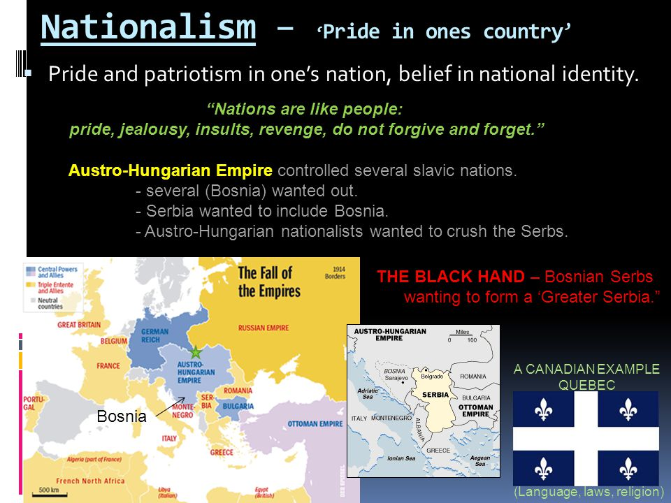 Nationalism – ' Pride in ones country'  Pride and patriotism in one's nation, belief in national identity. A CANADIAN EXAMPLE QUEBEC (Language, laws,