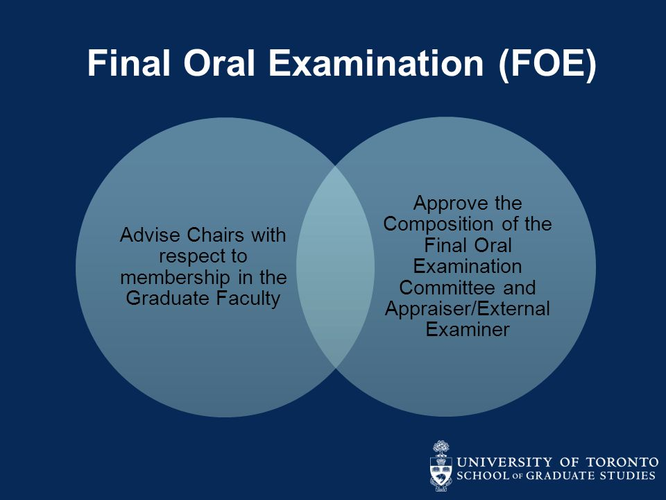 Final Oral Examination (FOE) Advise Chairs with respect to membership in the Graduate Faculty Approve the Composition of the Final Oral Examination Co