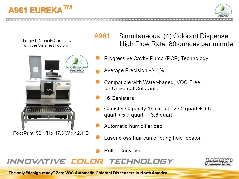 "The only ""design ready"" Zero VOC Automatic Colorant Dispensers in North America A961 EUREKA A961 EUREKA ™ Progressive Cavity Pump (PCP) Technology Com"