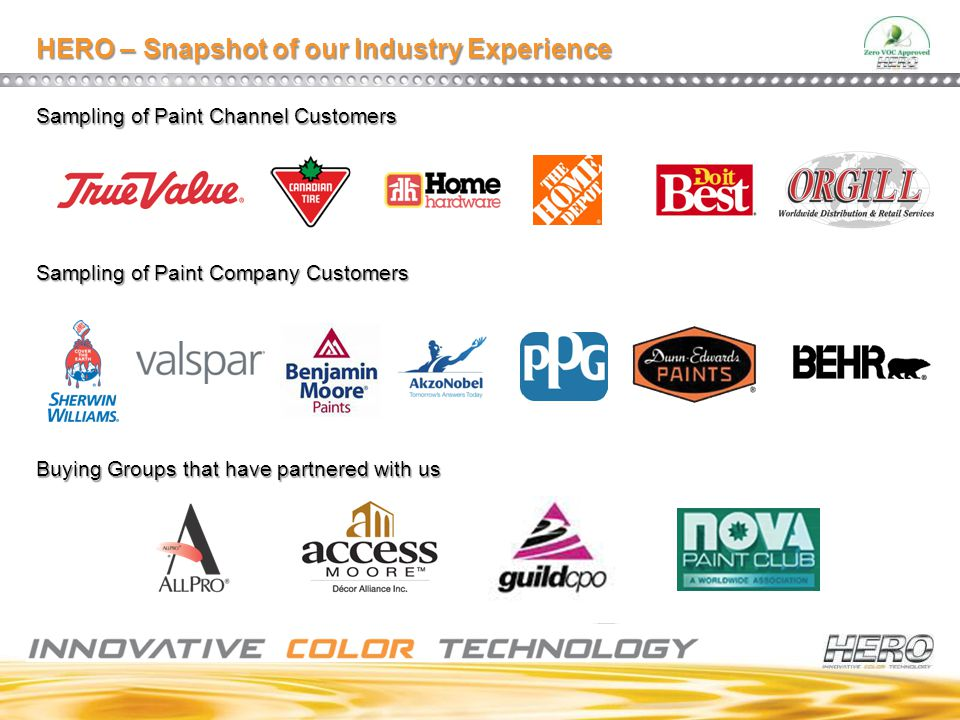 HERO – Snapshot of our Industry Experience Sampling of Paint Channel Customers Sampling of Paint Company Customers Buying Groups that have partnered w