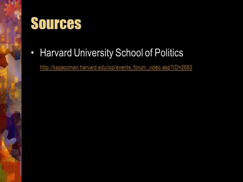 Sources Harvard University School of Politics http://ksgaccman.harvard.edu/iop/events_forum_video.asp?ID=2683 http://ksgaccman.harvard.edu/iop/events_