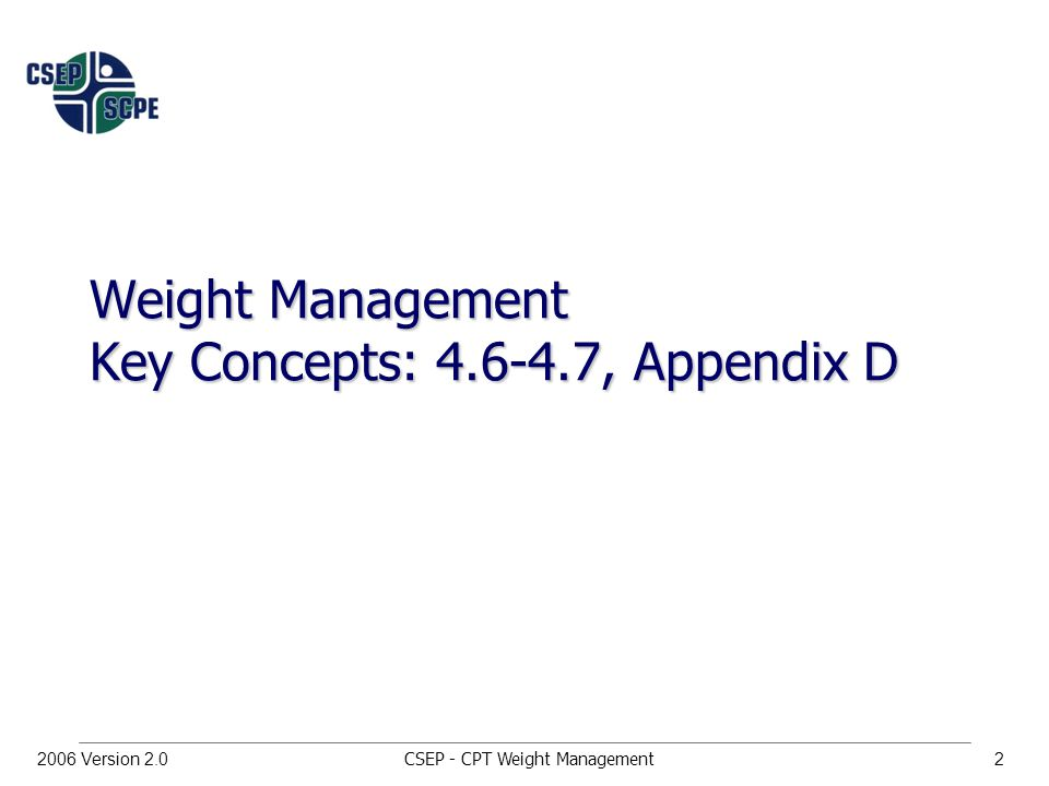 CSEP - CPT Weight Management22006 Version 2.0 Weight Management Key Concepts: , Appendix D