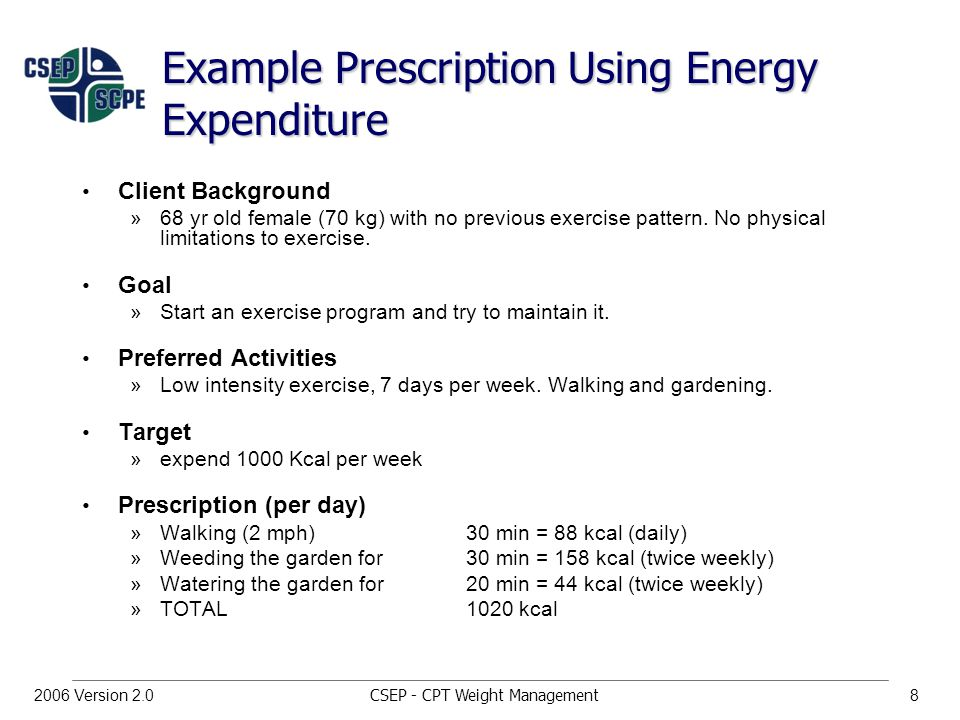 CSEP - CPT Weight Management82006 Version 2.0 Example Prescription Using Energy Expenditure Client Background »68 yr old female (70 kg) with no previous exercise pattern.