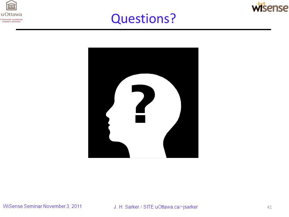 Questions 41 J. H. Sarker / SITE.uOttawa.ca/~jsarker WiSense Seminar November 3, 2011