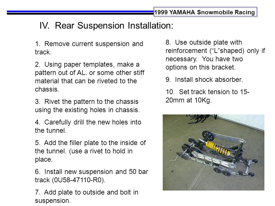 1999 YAMAHA Snowmobile Racing IV. Rear Suspension Installation: 1. Remove current suspension and track. 2. Using paper templates, make a pattern out o