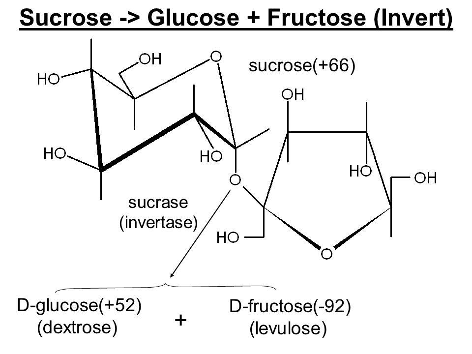 Sucrose -> Glucose + Fructose (Invert) sucrose(+66) D-glucose(+52) (dextrose) D-fructose(-92) (levulose) sucrase (invertase) +