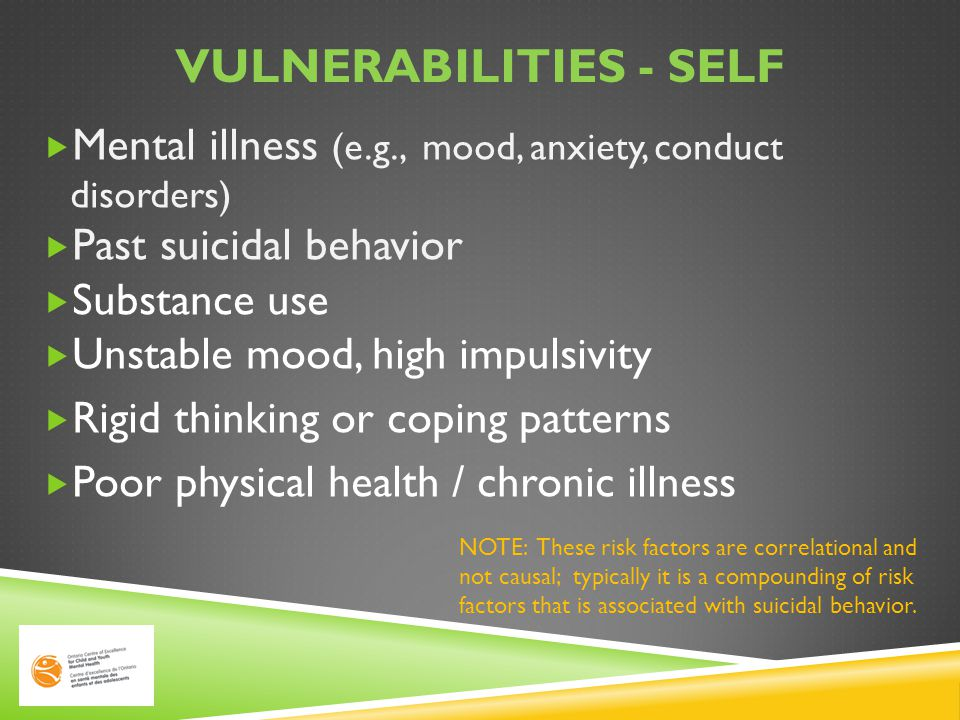 VULNERABILITIES - HOME  Family history of suicides / attempts  Parental mental illness  Alcohol / substance abuse in the home  History of violence and/or abuse  Divorce, separation, other losses, death  Tension and aggression between parents  Parental lack of time; rejection; neglect NOTE: These risk factors are correlational and not causal; typically it is a compounding of risk factors that is associated with suicidal behavior.