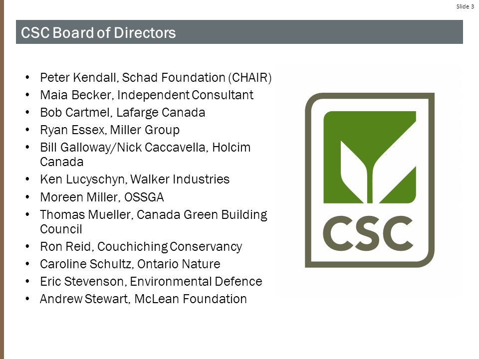 Slide 3 C ORNERSTONE S TANDARDS C OUNCIL CSC Board of Directors Peter Kendall, Schad Foundation (CHAIR) Maia Becker, Independent Consultant Bob Cartmel, Lafarge Canada Ryan Essex, Miller Group Bill Galloway/Nick Caccavella, Holcim Canada Ken Lucyschyn, Walker Industries Moreen Miller, OSSGA Thomas Mueller, Canada Green Building Council Ron Reid, Couchiching Conservancy Caroline Schultz, Ontario Nature Eric Stevenson, Environmental Defence Andrew Stewart, McLean Foundation